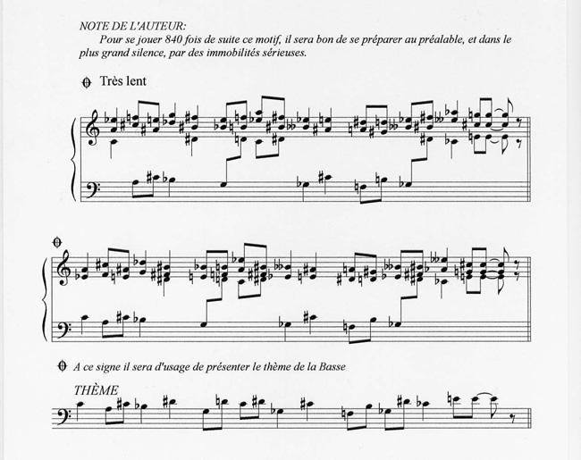 """Noten zu """"Vexations"""" mit der Anmerkung des Komponisten"""